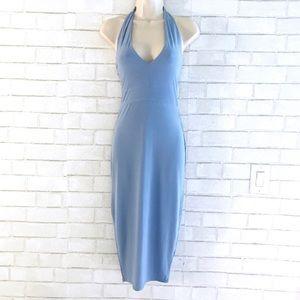 Baby Blue Halter Slinky Midi Dress